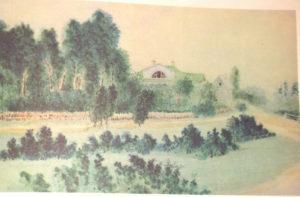 Дом в усадьбе Шахматово. Акварель А.Н. Бекетова.1880 г.